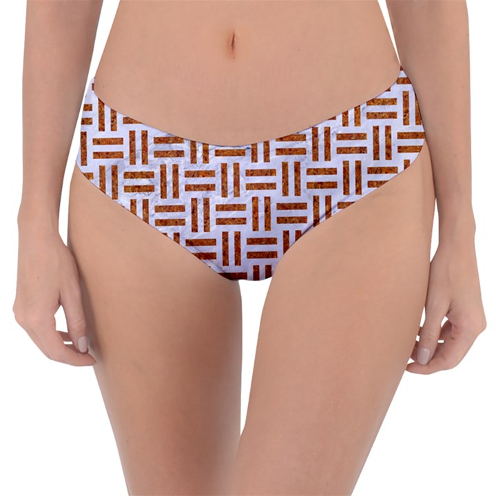 WOVEN1 WHITE MARBLE & RUSTED METAL (R) Reversible Classic Bikini Bottoms