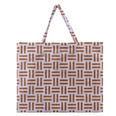 Woven1 White Marble & Rusted Metal (r) Zipper Large Tote Bag