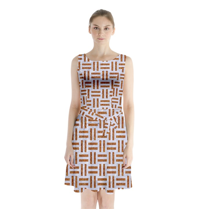WOVEN1 WHITE MARBLE & RUSTED METAL (R) Sleeveless Waist Tie Chiffon Dress
