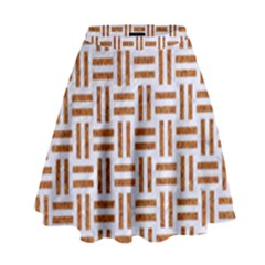 Woven1 White Marble & Rusted Metal (r) High Waist Skirt by trendistuff