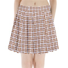 Woven1 White Marble & Rusted Metal (r) Pleated Mini Skirt by trendistuff