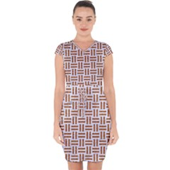 Woven1 White Marble & Rusted Metal (r) Capsleeve Drawstring Dress