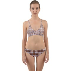Woven1 White Marble & Rusted Metal (r) Wrap Around Bikini Set by trendistuff