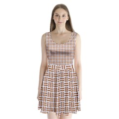 Woven1 White Marble & Rusted Metal (r) Split Back Mini Dress