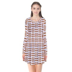 Woven1 White Marble & Rusted Metal (r) Flare Dress