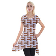 Woven1 White Marble & Rusted Metal (r) Short Sleeve Side Drop Tunic by trendistuff