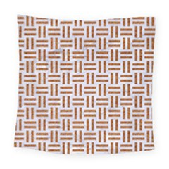 Woven1 White Marble & Rusted Metal (r) Square Tapestry (large) by trendistuff