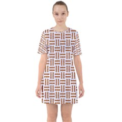 Woven1 White Marble & Rusted Metal (r) Sixties Short Sleeve Mini Dress by trendistuff
