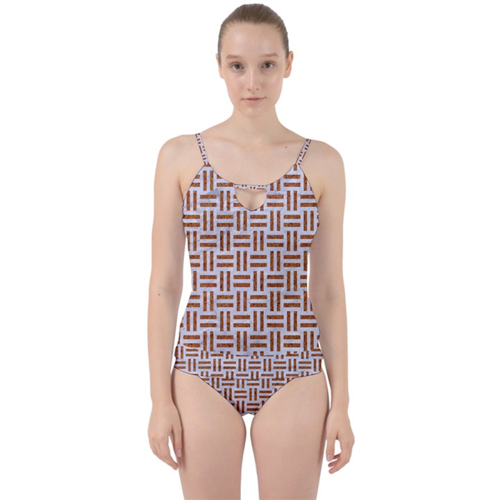 WOVEN1 WHITE MARBLE & RUSTED METAL (R) Cut Out Top Tankini Set