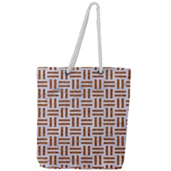 Woven1 White Marble & Rusted Metal (r) Full Print Rope Handle Tote (large) by trendistuff