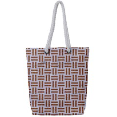 Woven1 White Marble & Rusted Metal (r) Full Print Rope Handle Tote (small) by trendistuff