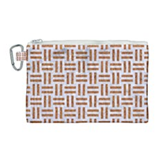 Woven1 White Marble & Rusted Metal (r) Canvas Cosmetic Bag (large) by trendistuff