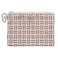 Woven1 White Marble & Rusted Metal (r) Canvas Cosmetic Bag (xl) by trendistuff