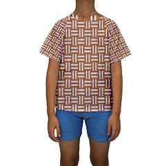 WOVEN1 WHITE MARBLE & RUSTED METAL Kids  Short Sleeve Swimwear