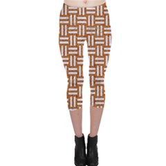 WOVEN1 WHITE MARBLE & RUSTED METAL Capri Leggings