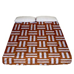 WOVEN1 WHITE MARBLE & RUSTED METAL Fitted Sheet (Queen Size)
