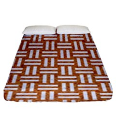 WOVEN1 WHITE MARBLE & RUSTED METAL Fitted Sheet (King Size)