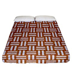 WOVEN1 WHITE MARBLE & RUSTED METAL Fitted Sheet (California King Size)