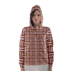 WOVEN1 WHITE MARBLE & RUSTED METAL Hooded Wind Breaker (Women)