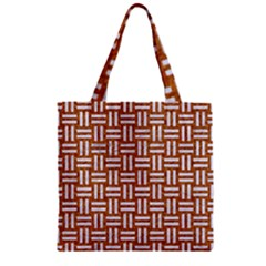 WOVEN1 WHITE MARBLE & RUSTED METAL Zipper Grocery Tote Bag