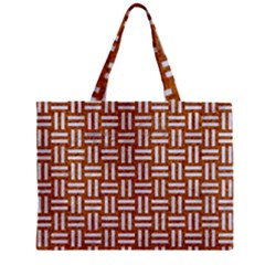 WOVEN1 WHITE MARBLE & RUSTED METAL Zipper Mini Tote Bag
