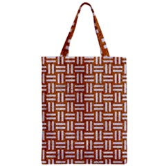 WOVEN1 WHITE MARBLE & RUSTED METAL Zipper Classic Tote Bag