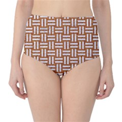 WOVEN1 WHITE MARBLE & RUSTED METAL High-Waist Bikini Bottoms