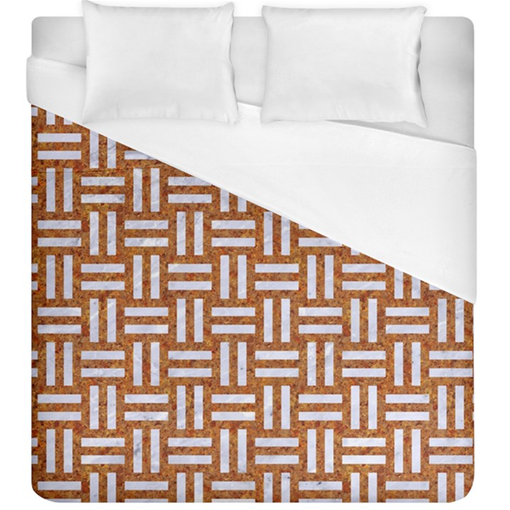 WOVEN1 WHITE MARBLE & RUSTED METAL Duvet Cover (King Size)