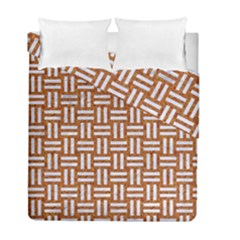 WOVEN1 WHITE MARBLE & RUSTED METAL Duvet Cover Double Side (Full/ Double Size)