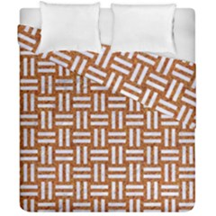 WOVEN1 WHITE MARBLE & RUSTED METAL Duvet Cover Double Side (California King Size)