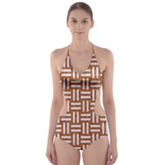 WOVEN1 WHITE MARBLE & RUSTED METAL Cut-Out One Piece Swimsuit