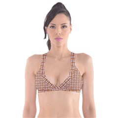 WOVEN1 WHITE MARBLE & RUSTED METAL Plunge Bikini Top