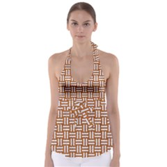WOVEN1 WHITE MARBLE & RUSTED METAL Babydoll Tankini Top