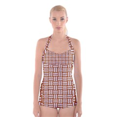 WOVEN1 WHITE MARBLE & RUSTED METAL Boyleg Halter Swimsuit