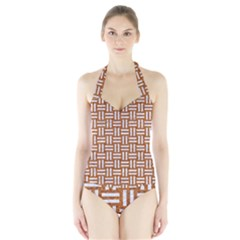 WOVEN1 WHITE MARBLE & RUSTED METAL Halter Swimsuit