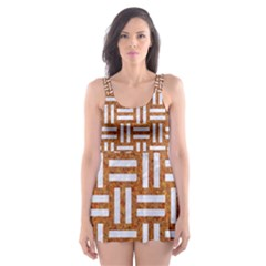 WOVEN1 WHITE MARBLE & RUSTED METAL Skater Dress Swimsuit