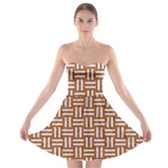 WOVEN1 WHITE MARBLE & RUSTED METAL Strapless Bra Top Dress