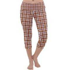 WOVEN1 WHITE MARBLE & RUSTED METAL Capri Yoga Leggings