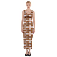 WOVEN1 WHITE MARBLE & RUSTED METAL Fitted Maxi Dress