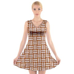 WOVEN1 WHITE MARBLE & RUSTED METAL V-Neck Sleeveless Skater Dress
