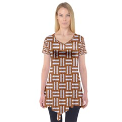 WOVEN1 WHITE MARBLE & RUSTED METAL Short Sleeve Tunic