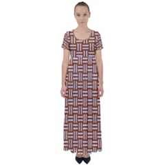 WOVEN1 WHITE MARBLE & RUSTED METAL High Waist Short Sleeve Maxi Dress