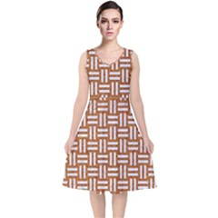 WOVEN1 WHITE MARBLE & RUSTED METAL V-Neck Midi Sleeveless Dress