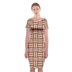 WOVEN1 WHITE MARBLE & RUSTED METAL Classic Short Sleeve Midi Dress