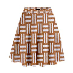 WOVEN1 WHITE MARBLE & RUSTED METAL High Waist Skirt