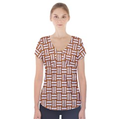 WOVEN1 WHITE MARBLE & RUSTED METAL Short Sleeve Front Detail Top