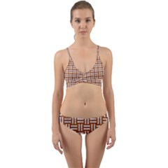 WOVEN1 WHITE MARBLE & RUSTED METAL Wrap Around Bikini Set