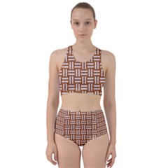WOVEN1 WHITE MARBLE & RUSTED METAL Racer Back Bikini Set