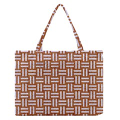 WOVEN1 WHITE MARBLE & RUSTED METAL Zipper Medium Tote Bag