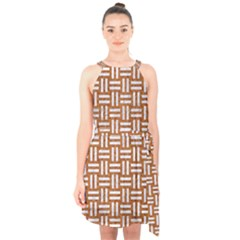 WOVEN1 WHITE MARBLE & RUSTED METAL Halter Collar Waist Tie Chiffon Dress